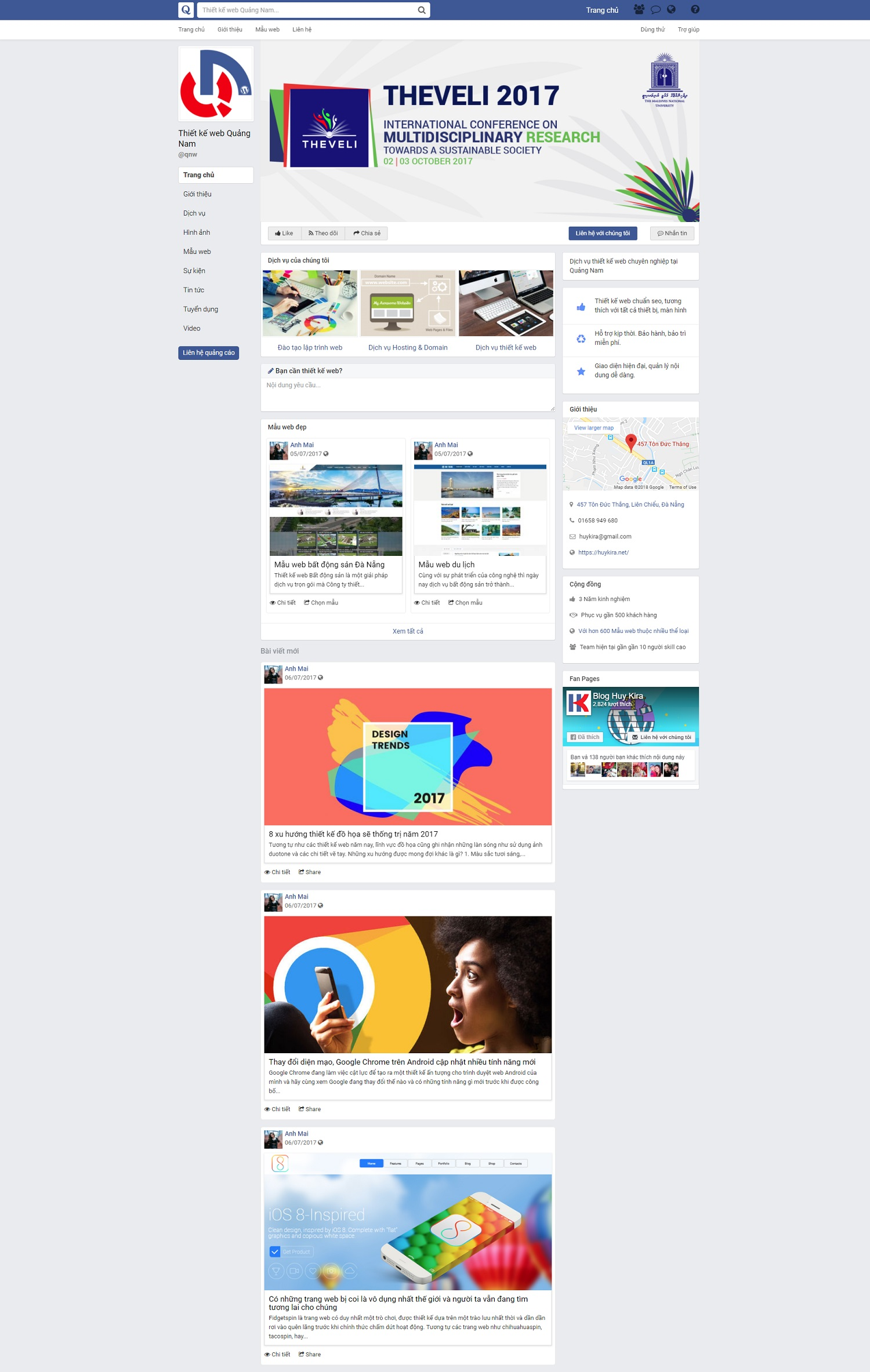 Mẫu website blog giao diện giống fanpage facebook